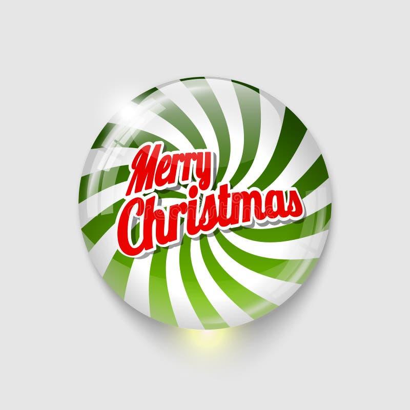 Botão lustroso com Feliz Natal da espiral e do texto ilustração royalty free