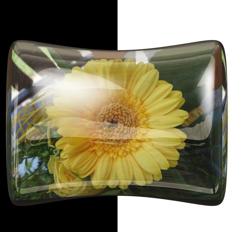 botão lustroso do descanso 3D com flor real fotografia de stock