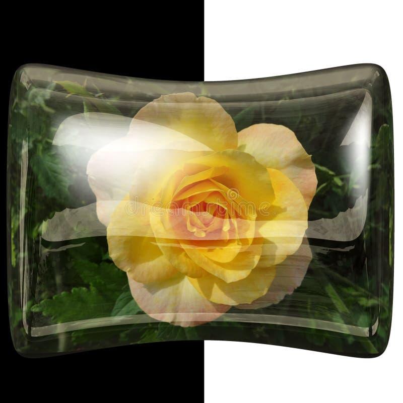botão lustroso do descanso 3D com flor real fotografia de stock royalty free