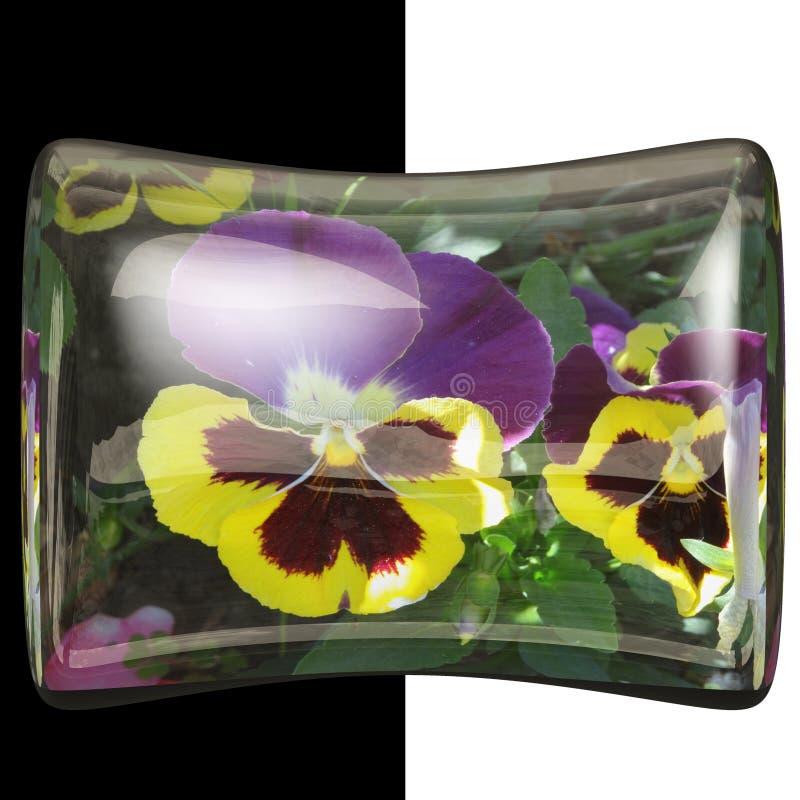 botão lustroso do descanso 3D com flor real imagens de stock royalty free
