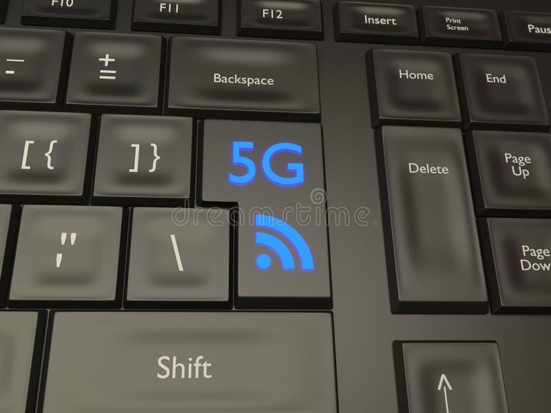 botão móvel da conexão 5G fotografia de stock