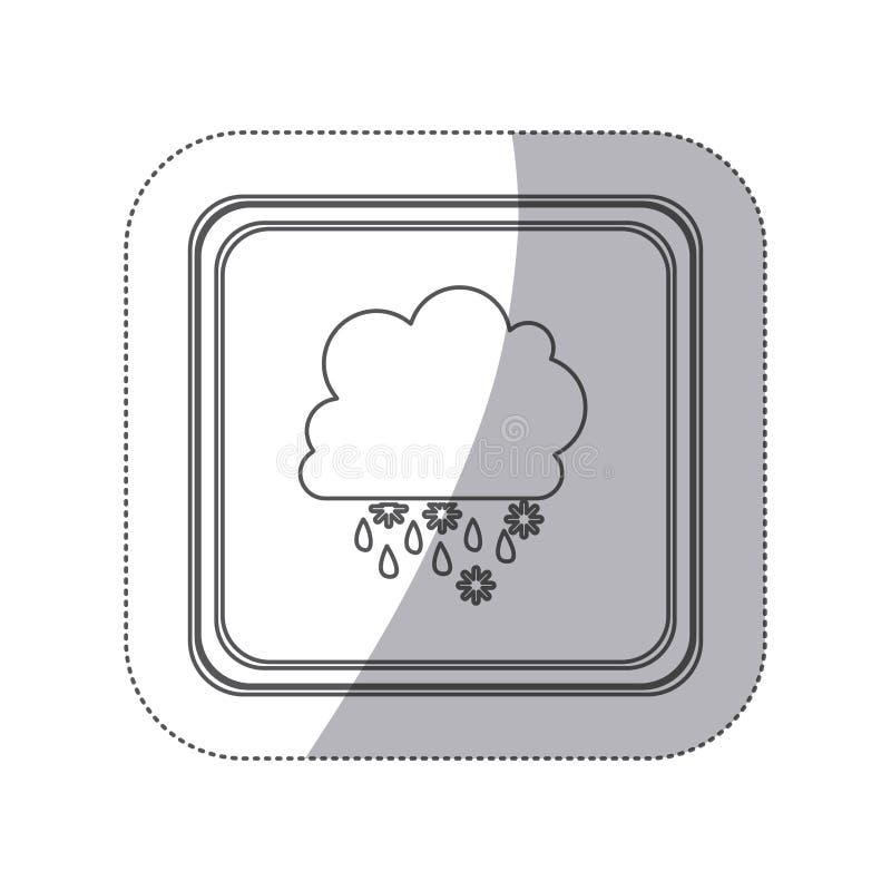 botão monocromático do quadrado da silhueta da etiqueta com o cúmulo das nuvens com chuva da neve ilustração stock