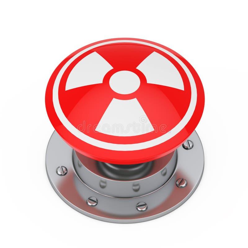 Botão nuclear do lançamento vermelho da bomba atômica com símbolo da radiação 3d ilustração royalty free