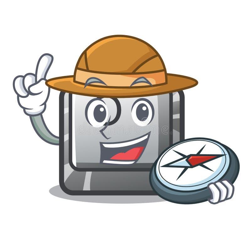 Botão O do explorador na forma dos desenhos animados ilustração stock