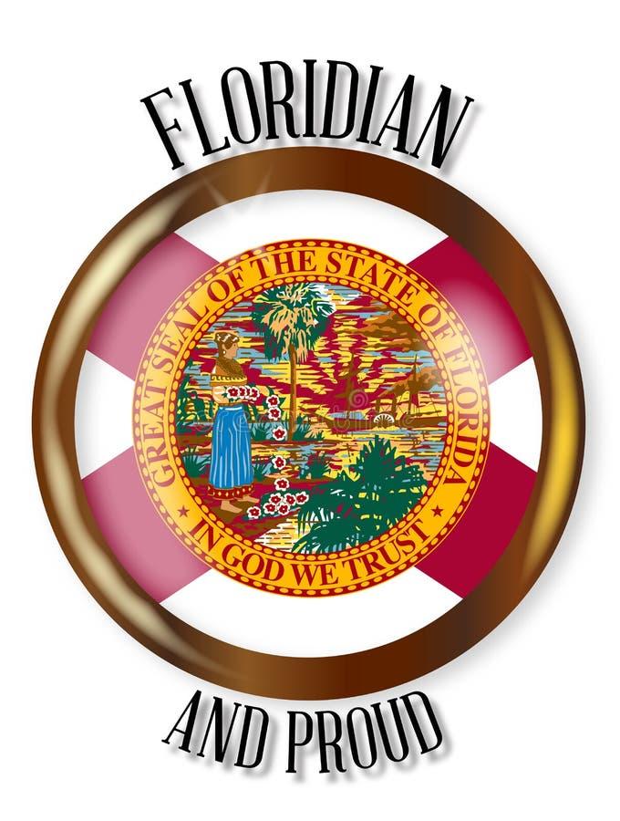 Botão orgulhoso da bandeira de Florida ilustração royalty free