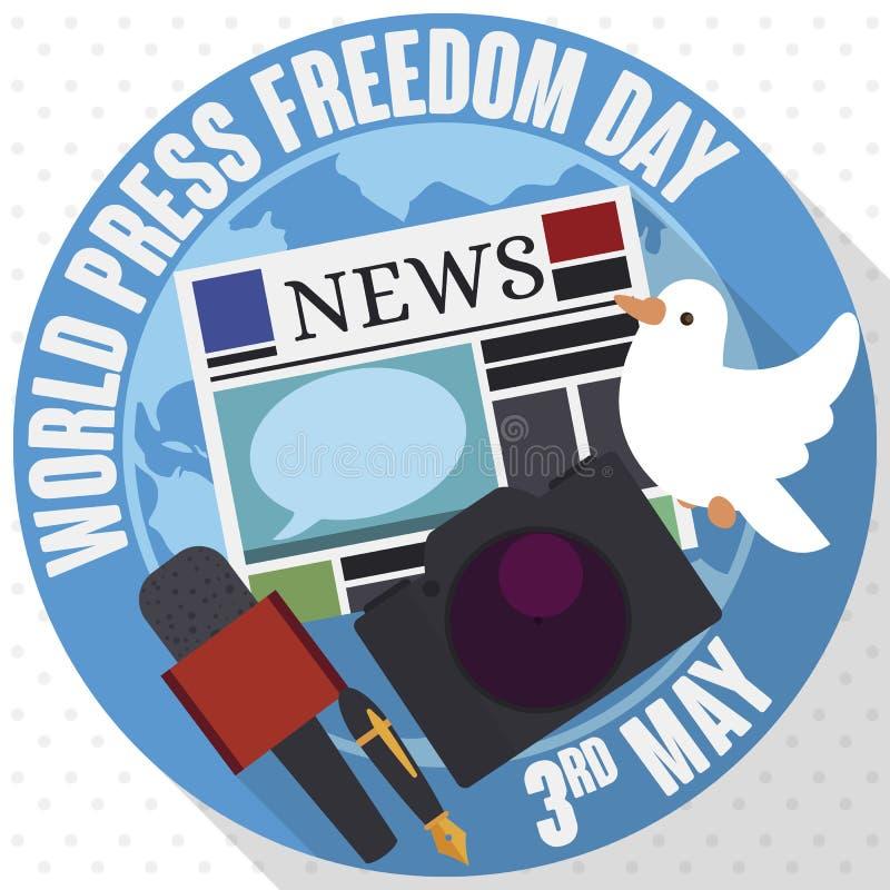 Bot?o, pomba e journalista Elements para o dia da liberdade de imprensa do mundo, ilustra??o do vetor ilustração do vetor