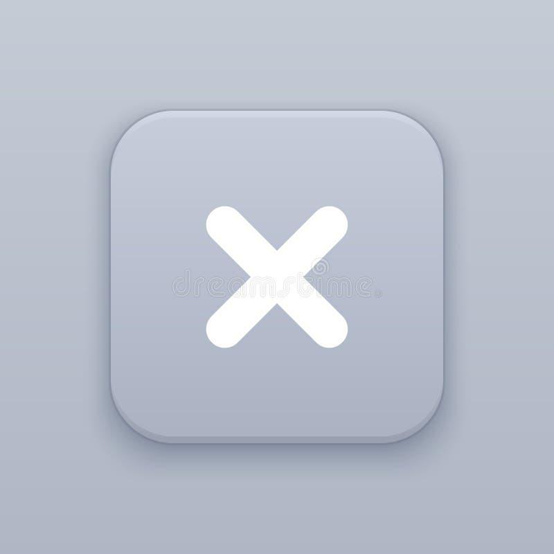 Botão próximo, cinzento do vetor com ícone branco no fundo cinzento ilustração stock