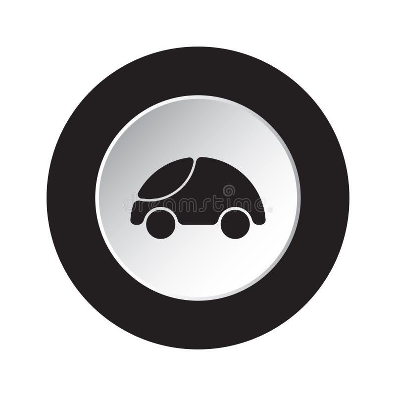 Botão preto, branco redondo - ícone arredondado bonito do carro ilustração royalty free