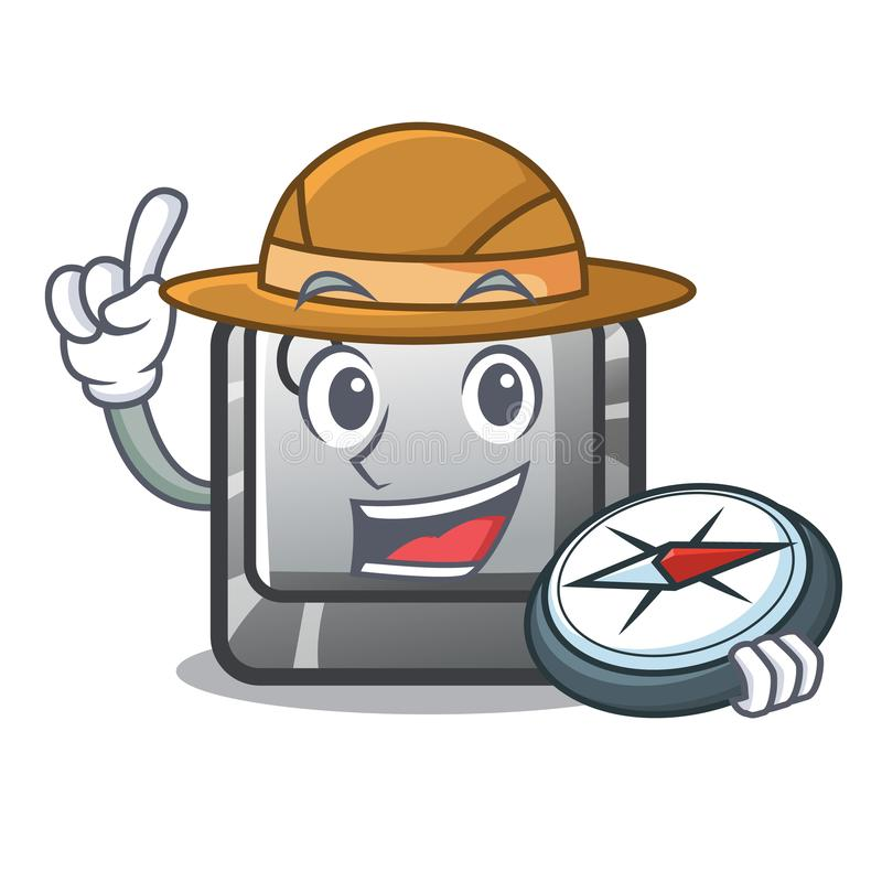 Botão Q do explorador na forma de caráter ilustração stock