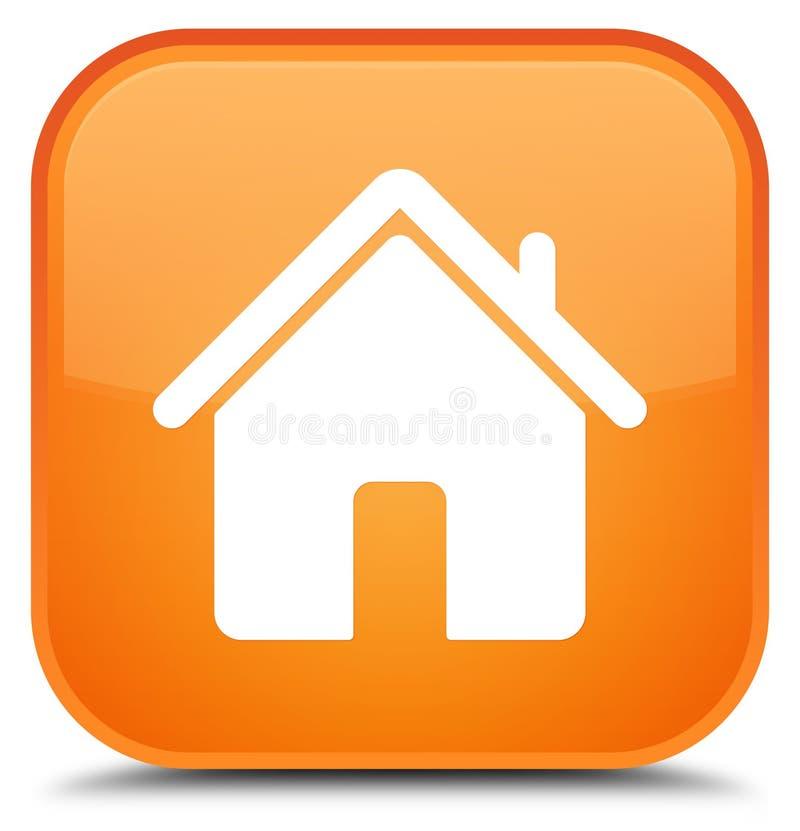Botão quadrado alaranjado especial do ícone home ilustração royalty free