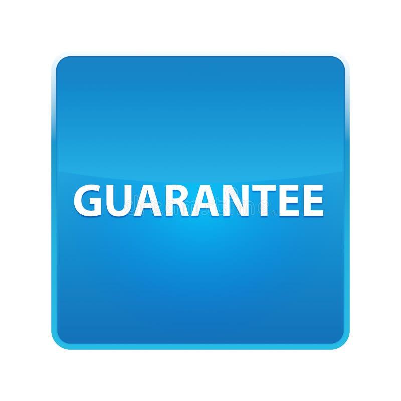 Botão quadrado azul brilhante da garantia ilustração do vetor