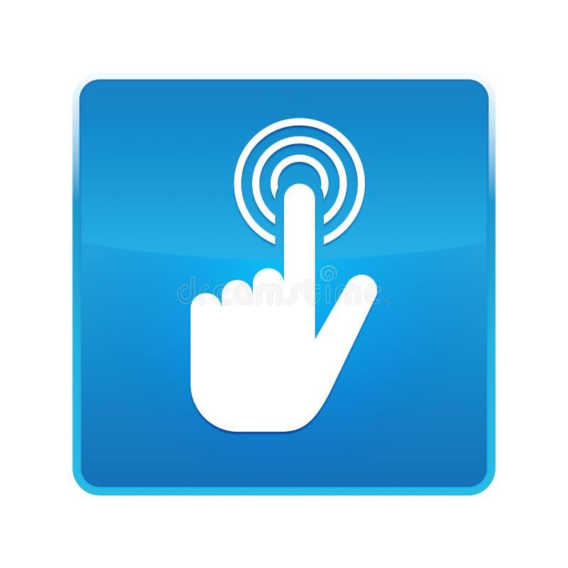 Botão quadrado azul brilhante do ícone do clique do cursor da mão ilustração stock