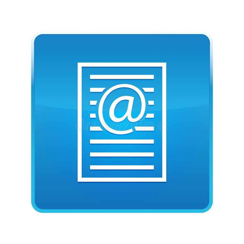 Botão quadrado azul brilhante do ícone da página do endereço email ilustração royalty free