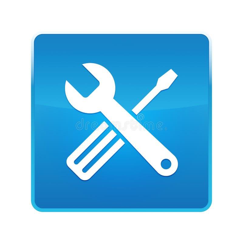 Botão quadrado azul brilhante do ícone das ferramentas ilustração stock