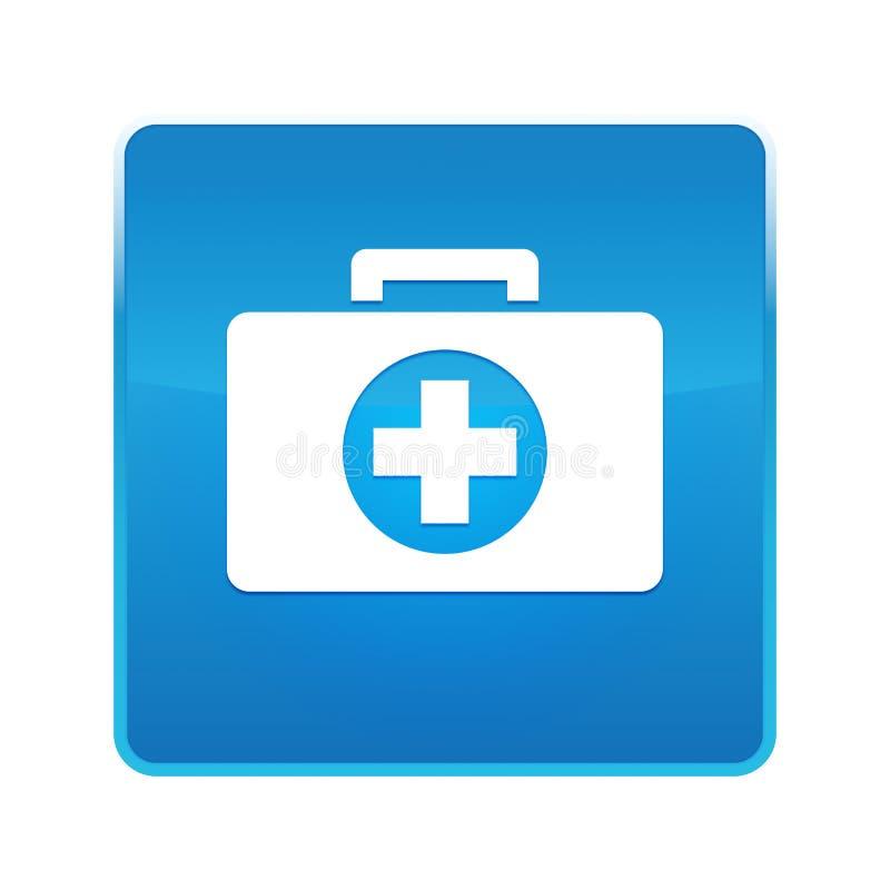 Botão quadrado azul brilhante do ícone do kit de primeiros socorros ilustração do vetor