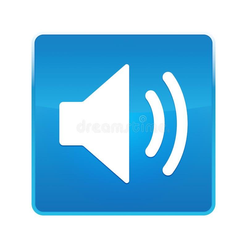 Botão quadrado azul brilhante do ícone do orador do volume ilustração stock