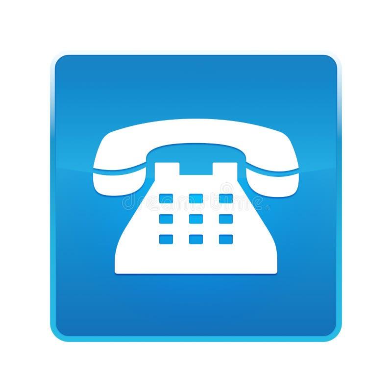 Botão quadrado azul brilhante do ícone do telefone ilustração do vetor