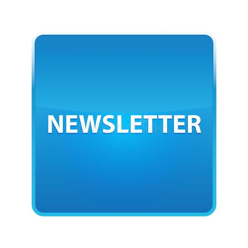 Botão quadrado azul brilhante do boletim de notícias ilustração stock
