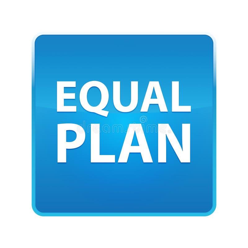 Botão quadrado azul brilhante do plano do igual ilustração stock