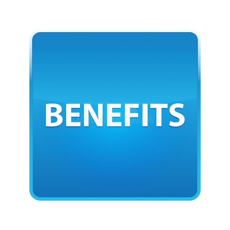 Botão quadrado azul brilhante dos benefícios ilustração royalty free
