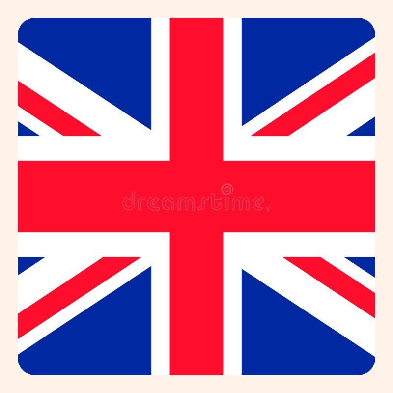 Botão quadrado BRITÂNICO da bandeira, sinal social de uma comunicação dos meios, negócio ilustração do vetor