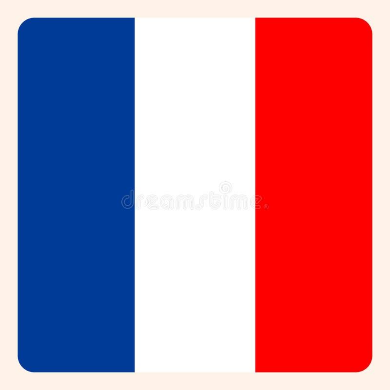 Botão quadrado francês da bandeira, sinal social de uma comunicação dos meios ilustração stock