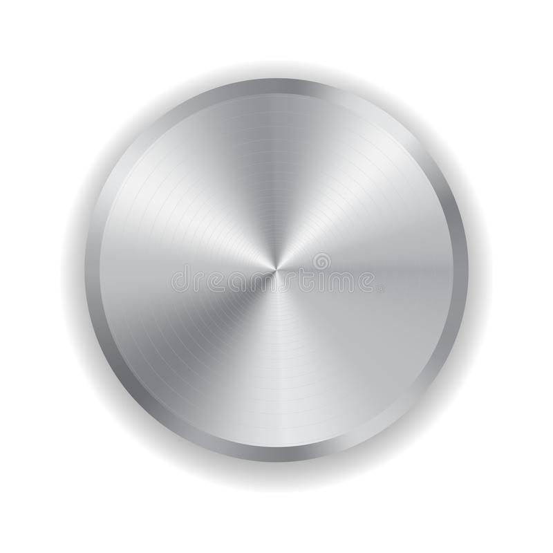 Botão realístico do metal do vetor ilustração do vetor