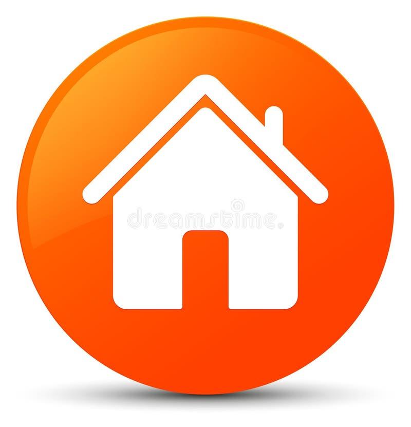Botão redondo alaranjado do ícone home ilustração royalty free