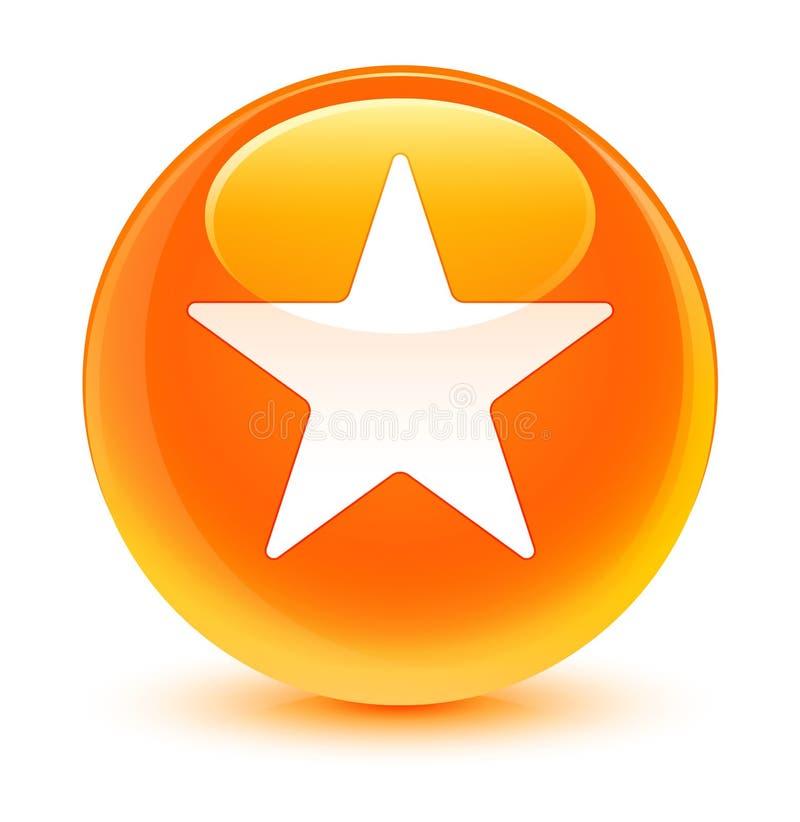 Botão redondo alaranjado vítreo do ícone da estrela ilustração do vetor