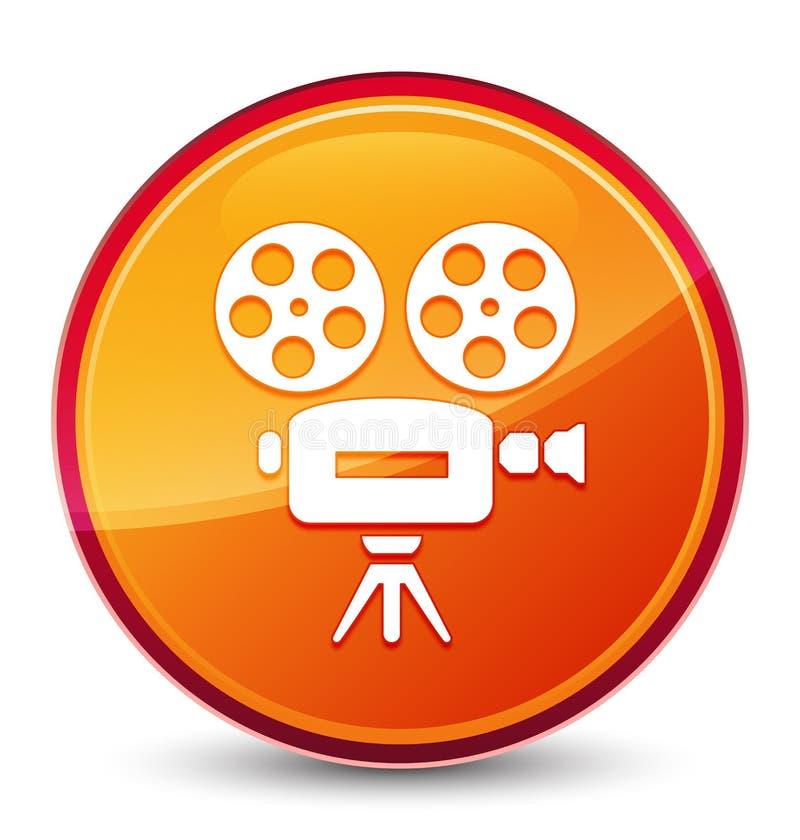 Botão redondo alaranjado vítreo especial do ícone da câmara de vídeo ilustração stock