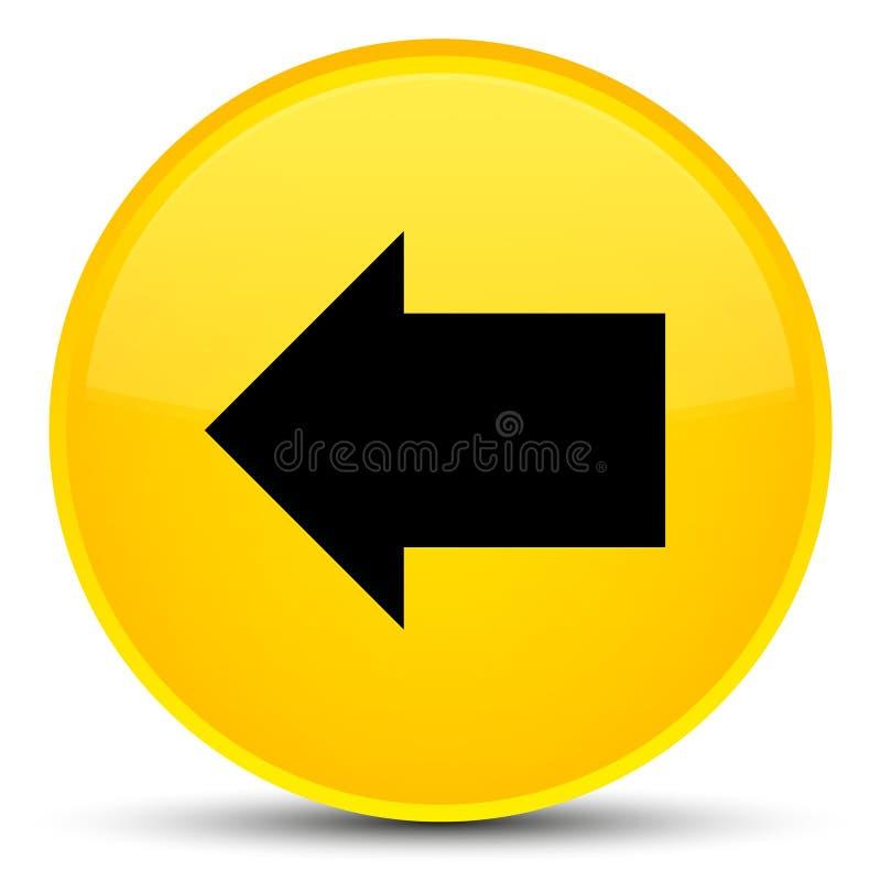 Botão redondo amarelo especial do ícone traseiro da seta ilustração stock