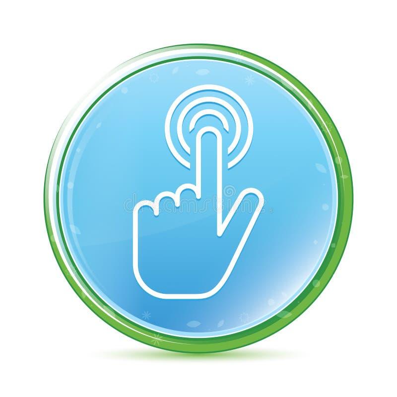 Botão redondo azul ciano do aqua natural do ícone do clique do cursor da mão ilustração royalty free
