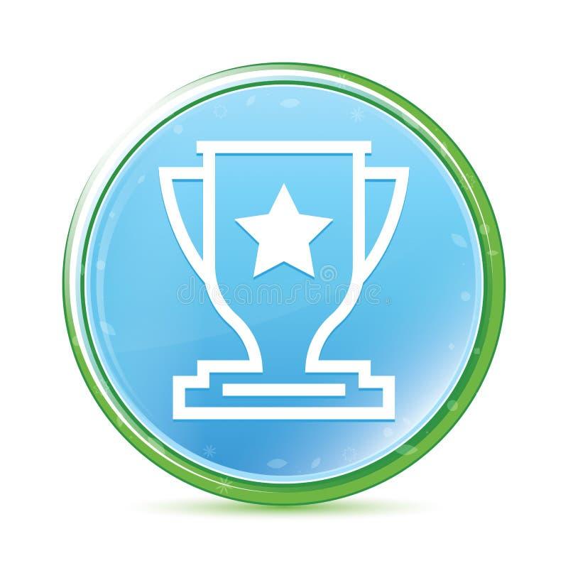 Botão redondo azul ciano do aqua natural do ícone do troféu ilustração do vetor