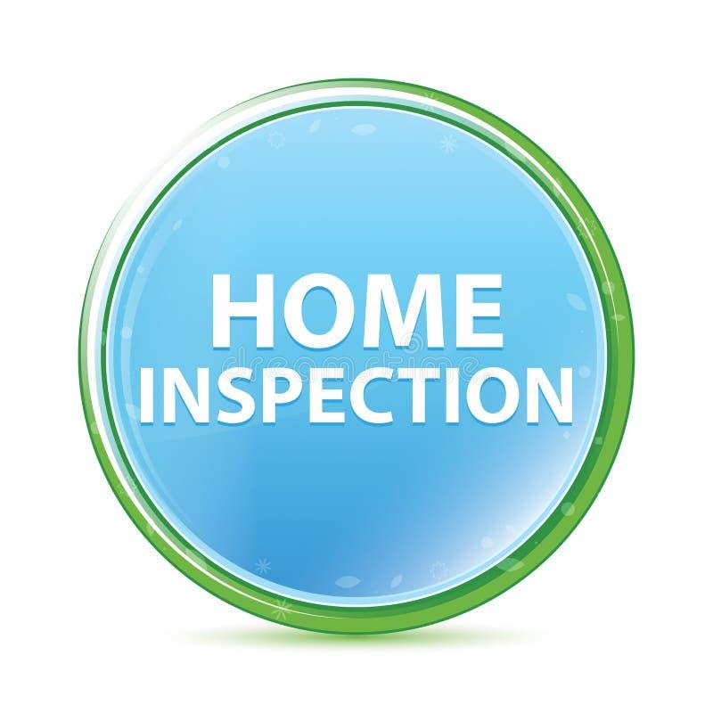 Botão redondo azul ciano do aqua natural da inspeção da casa ilustração royalty free