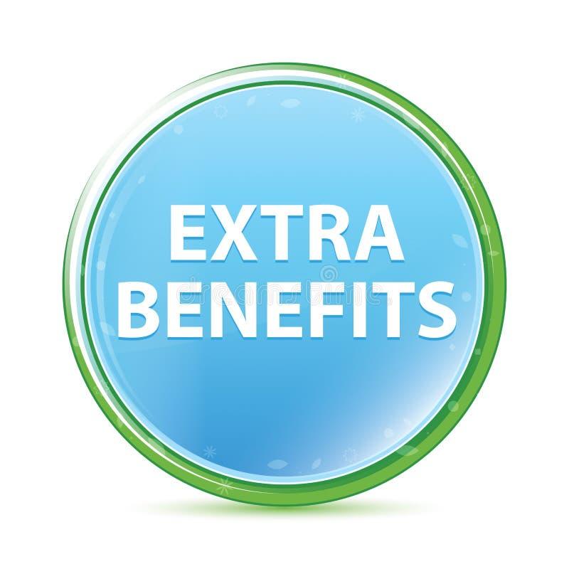Botão redondo azul ciano do aqua natural extra dos benefícios ilustração royalty free