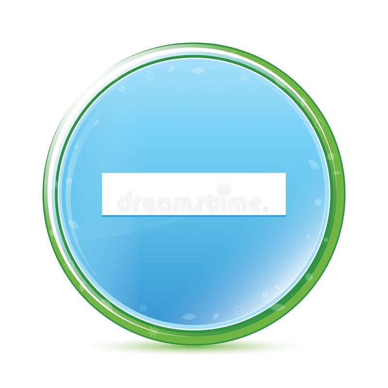Botão redondo azul ciano do aqua natural negativo do ícone ilustração royalty free