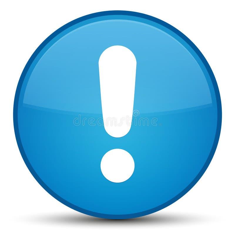 Botão redondo azul ciano especial do ícone da marca de exclamação ilustração do vetor