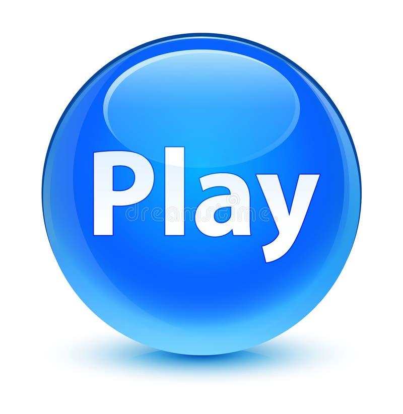 Botão redondo azul ciano vítreo do jogo ilustração do vetor