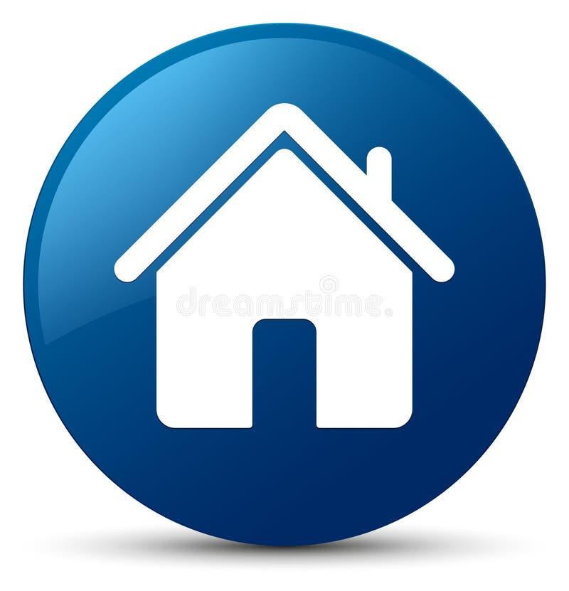 Botão redondo azul do ícone home ilustração do vetor