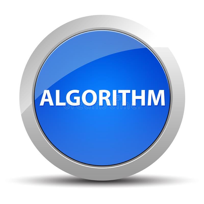 Botão redondo azul do algoritmo ilustração do vetor