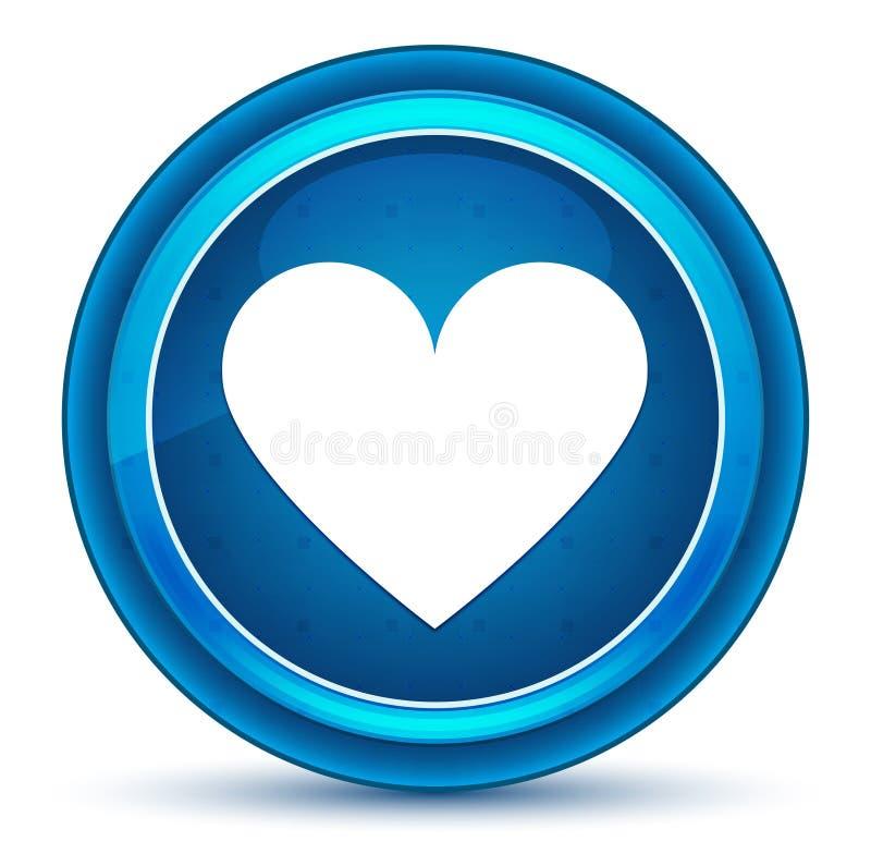 Botão redondo azul do globo ocular do ícone do coração ilustração do vetor