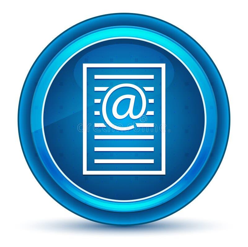 Botão redondo azul do globo ocular do ícone da página do endereço email ilustração stock