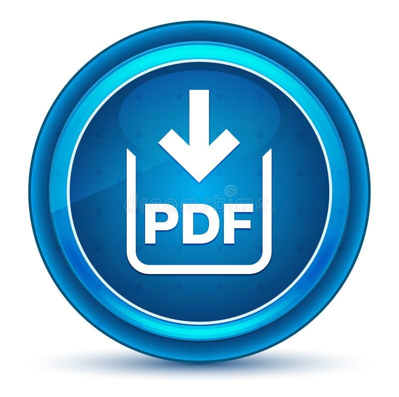 Botão redondo azul do globo ocular do ícone da transferência do documento do pdf ilustração stock