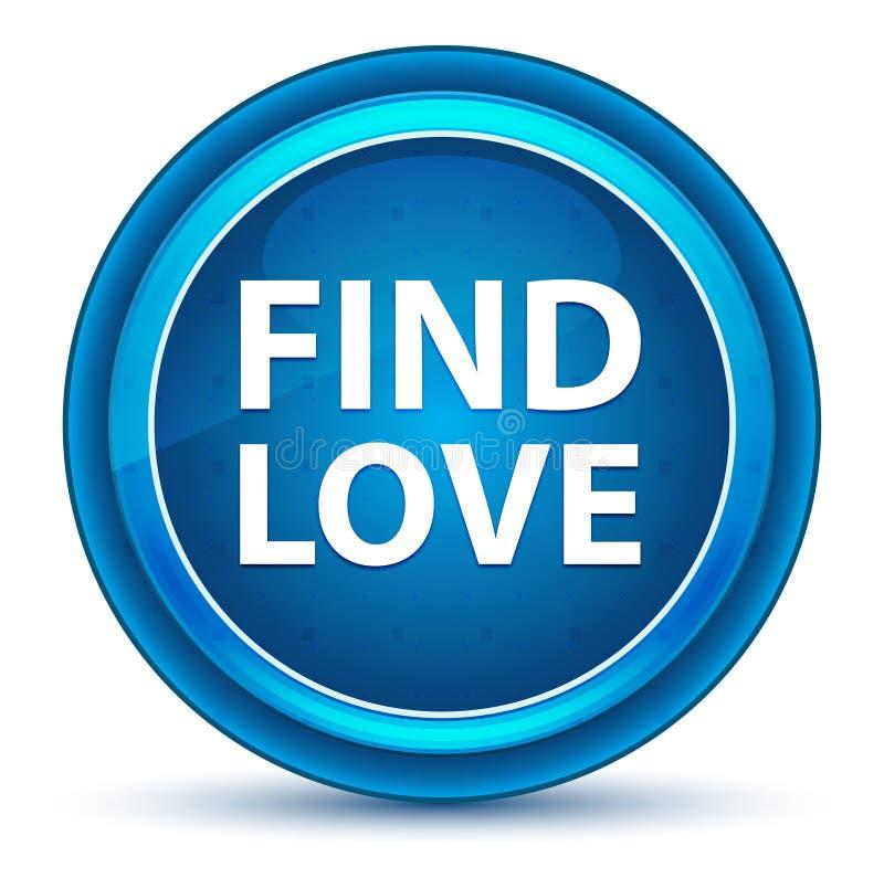 Botão redondo azul do globo ocular do amor do achado ilustração stock