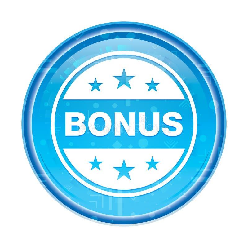 Botão redondo azul floral do ícone do crachá do bônus ilustração stock