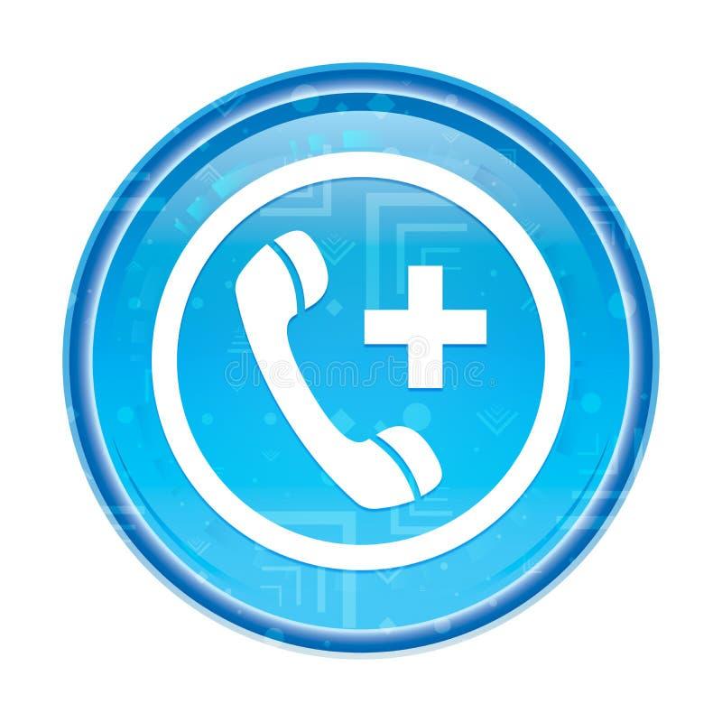 Botão redondo azul floral do ícone da chamada de emergência ilustração royalty free