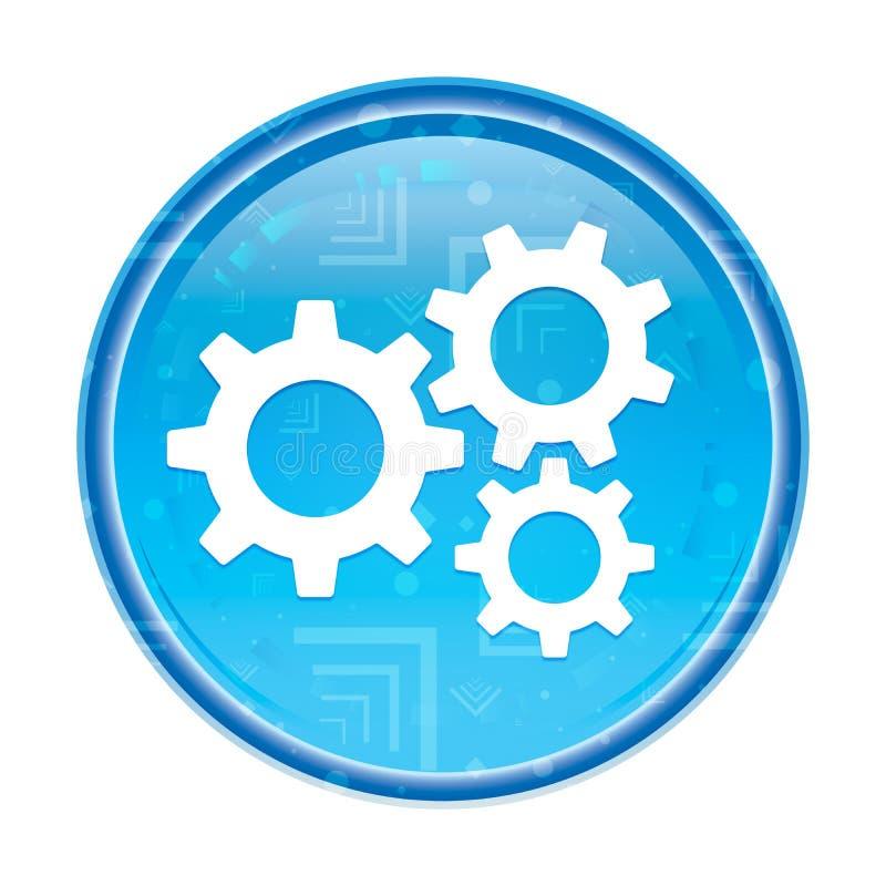 Botão redondo azul floral do ícone das engrenagens dos ajustes ilustração royalty free