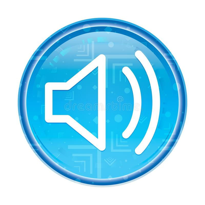 Botão redondo azul floral do ícone do orador do volume ilustração royalty free