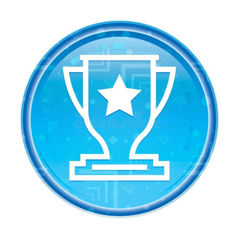 Botão redondo azul floral do ícone do troféu ilustração royalty free