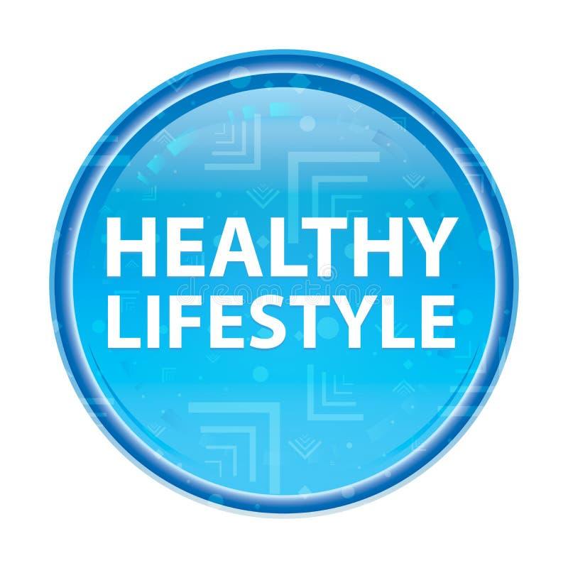 Botão redondo azul floral do estilo de vida saudável ilustração stock